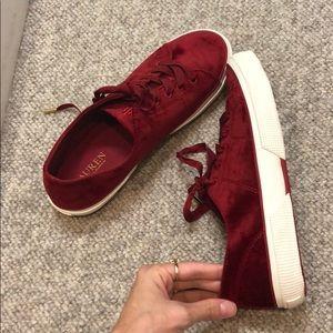 Ralph Lauren Shoes - Ralph Lauren red velvet tennis shoes